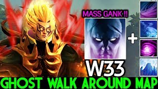 W33 [Invoker] When Pro Ghost Walk Around Map Mass Gank 7.22 Dota 2