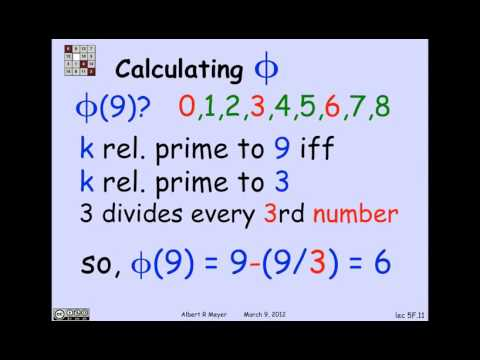2.3.1 Modular Exponentiation Euler's Function: Video