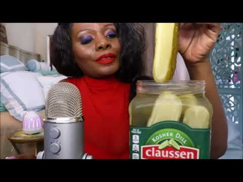 ASMR eating pickles but it's extremely bass boosted