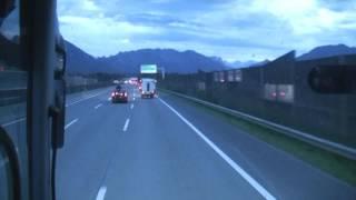 odjezd na dovolenou do Itálie města Rimini ( jízda po dálnici E55 a průjezd tunelem )