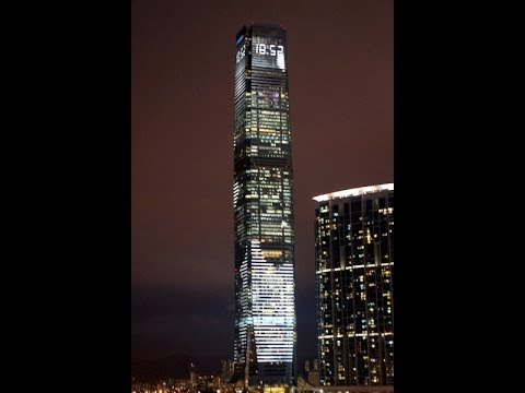 Spectacular Light show from the International commerce centre Hong Kong China Skyscraper Building