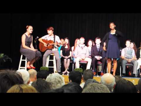 "Haven and Brayden perform Kari Jobe's ""We Are"" at Judah Christian School's 8th grade promotion"