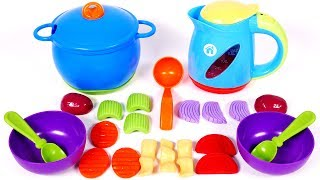 New Sprouts Cooking Vegetables Soup Play Pretend Food Playset for Children Learn Colors