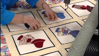 Quilting on a Sun Bonnet Sue Quilt