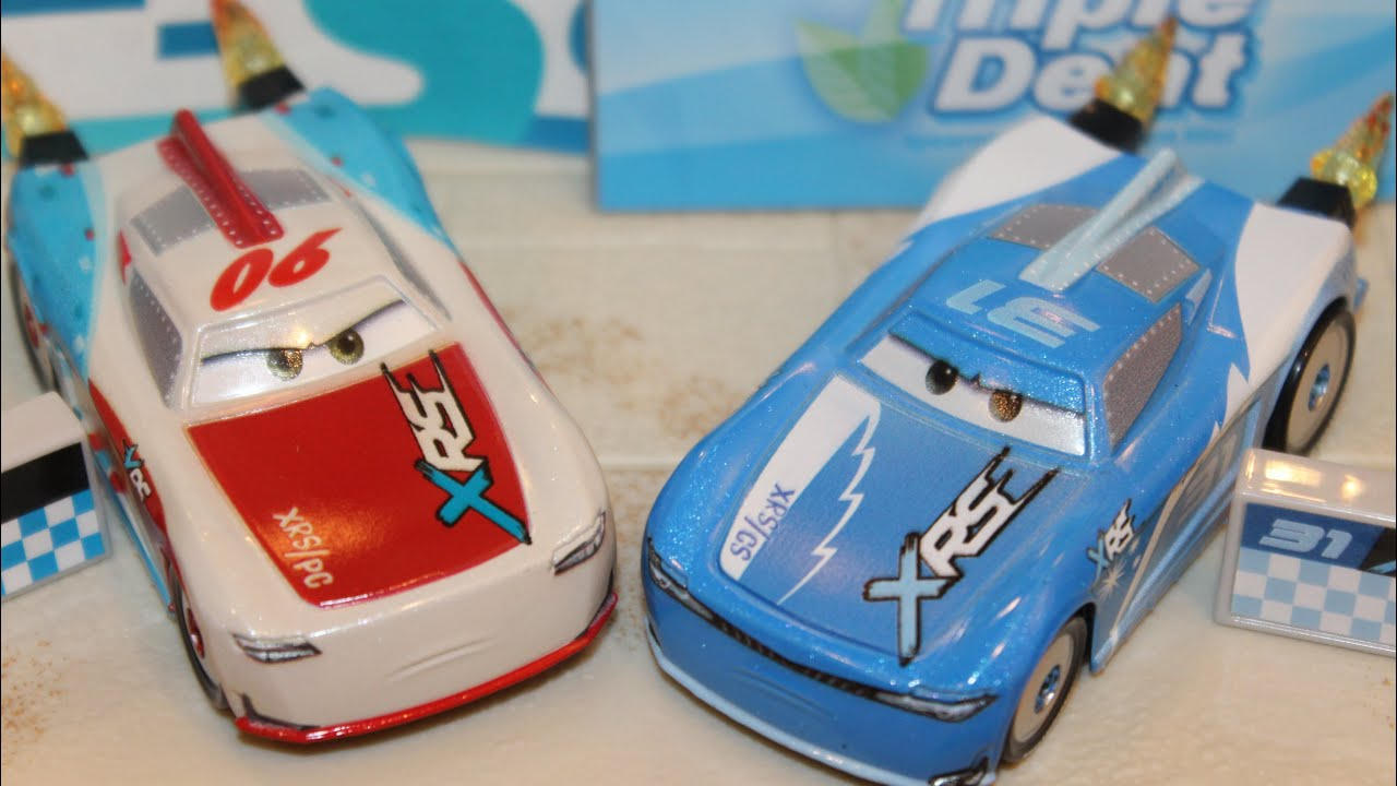 Mattel Disney Cars 3 XRS Cam Spinner & Paul Conrev Rocket Racers Next-Gen Bumper Save & Triple Dent