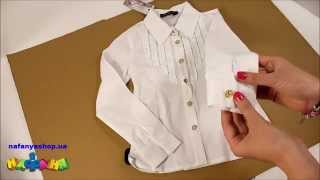 Блузка школьная для девочки цвет белый золотые пуговицы р 134 152 арт 79Z
