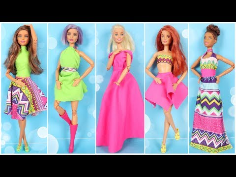 5 COOL DIY BARBIE CLOTHES with 3 Fabrics ~ How To Make Doll Dresses