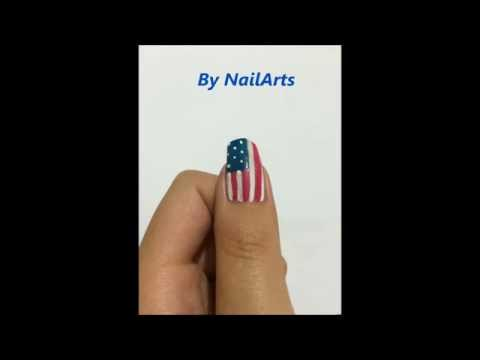 Draw USA Flag On Your Nails :)