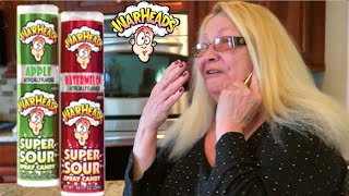 GRANDMOM TRIES EXTREMELY SOUR SPRAY! (HILARIOUS!) - WARHEADS CANDY