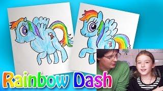 Как рисовать Пони Rainbow Dash из мультика My Little Pony | Развивающий урок рисования для детей
