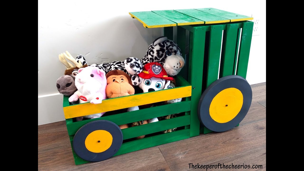 Wood Crate Tractor Toy Box - YouTube