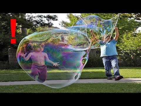 KID SIZED BUBBLE! Largest Bubbles Ever Blown