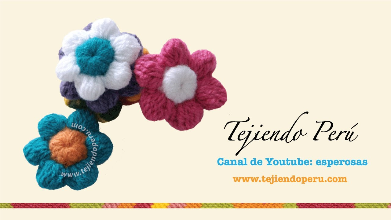 Flores de botón a crochet - YouTube