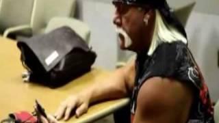 Lacey Von Erich shows Hulk Hogan a commercial