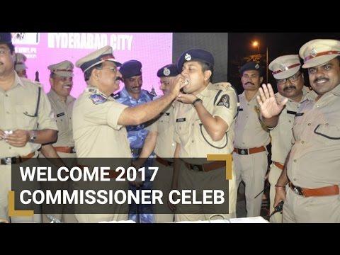 Hyderabad Police commissioner celebrating New Year 2017
