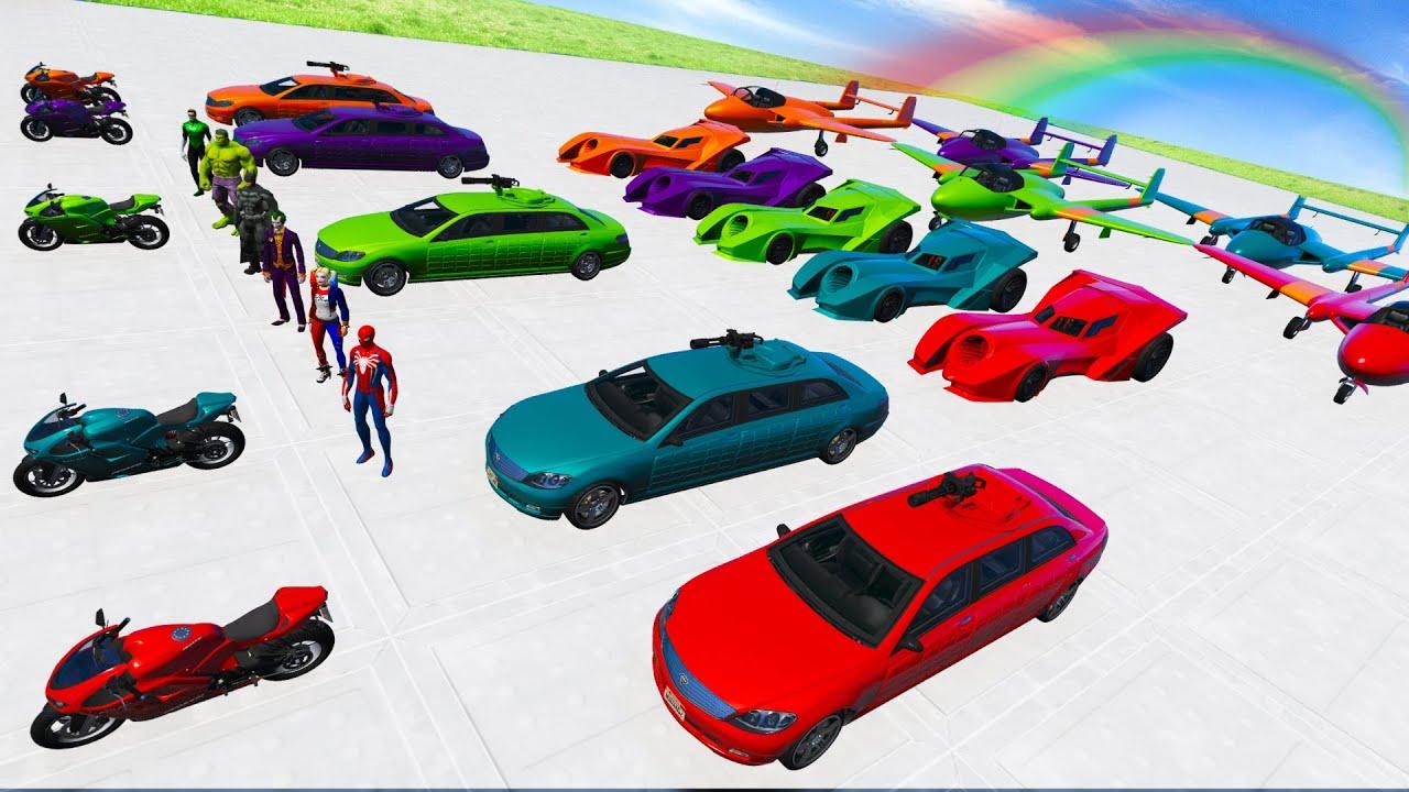 GTA V Nova Desafio com Carros, Motos, Aviãos e Homem Aranha - New Spiderman Descent Challenge