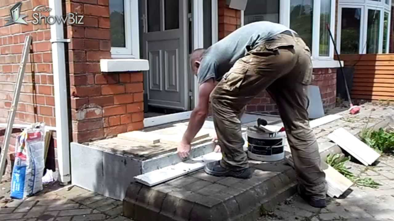 How to diy patio tiling job front porch flagged tiled project youtube