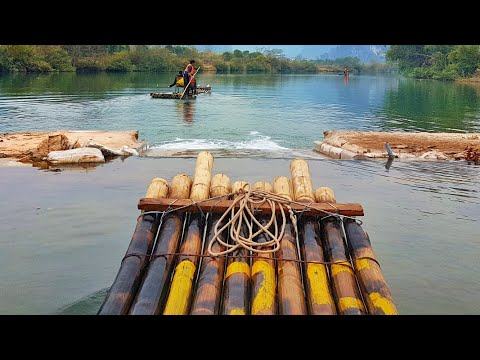 Bamboo Raft Wild water rafting in Yangshuozhen China relaxing meditation between Mountains