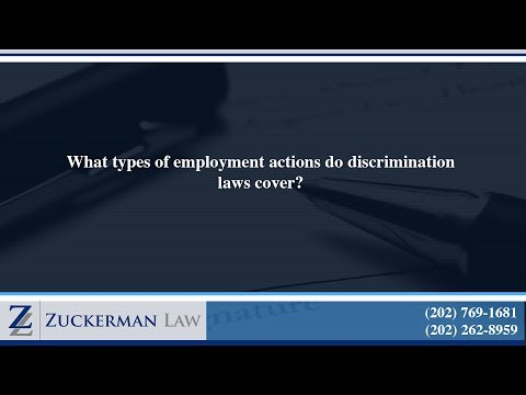 What types of employment actions do discrimination laws cover?