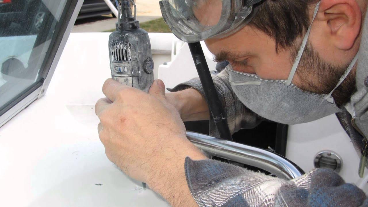 Fiberglass Hole Repair : Boat repair repairing holes in a fiberglass console youtube