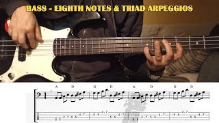 Bass TRIAD ARPEGGIOS Easy Song Exercise   BASS GUITAR LESSON with TAB