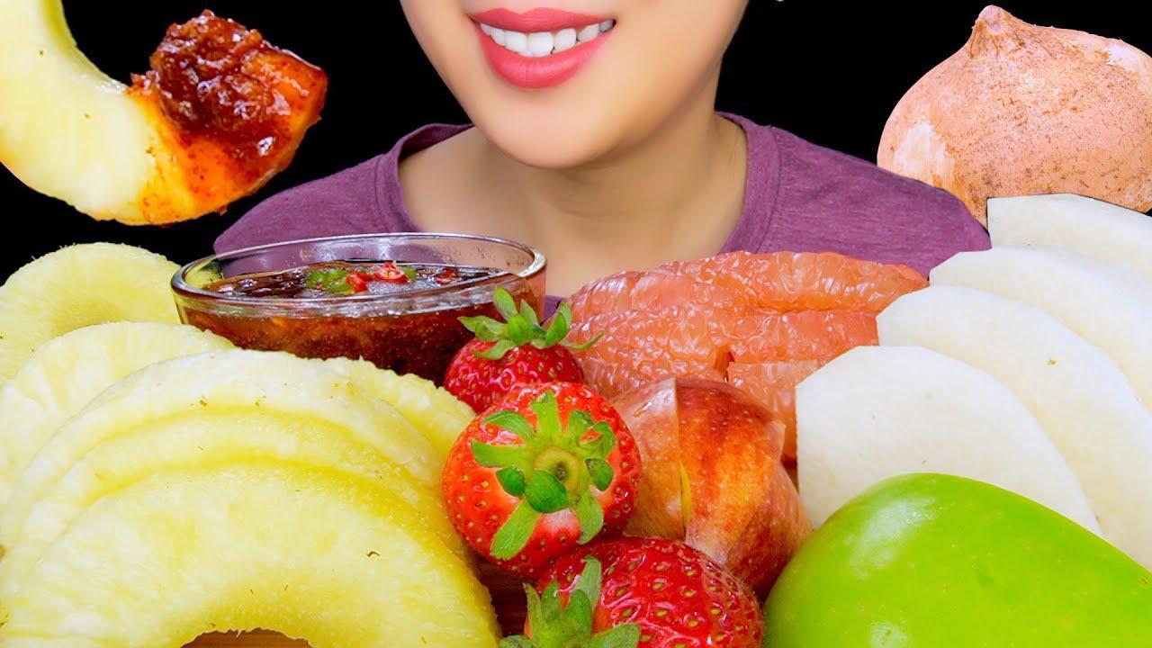 ASMR PINEAPPLE, GRAPEFRUIT, APPLES SOUR FRUIT WITH SPICY SAUCE | ASMR EATING | TracyN ASMR