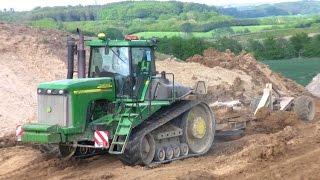Big John Deere 9520T Tractor Pulling A Big Land Leveler