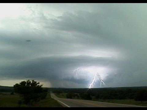 Supercell with frequent lightning - Bristow, OK - May 23, 2004