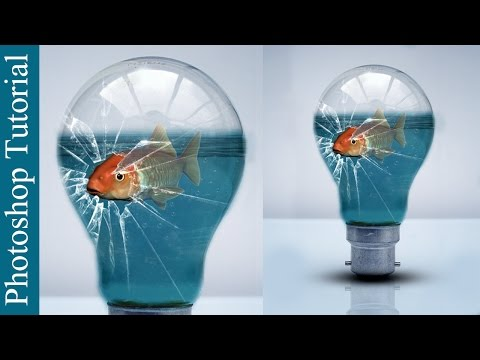 Broken Glass Bulb and Fish - Photoshop CC