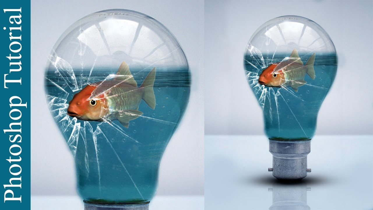Broken Glass Bulb and Fish - Photoshop CC - YouTube