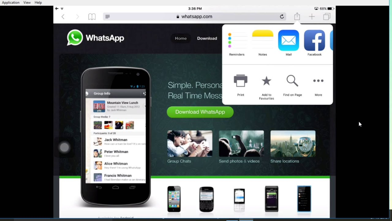how to install whatsapp on ipad and ipod without jailbreak?