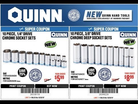 New QUINN Sockets WITH COUPONS From Harbor Freight!