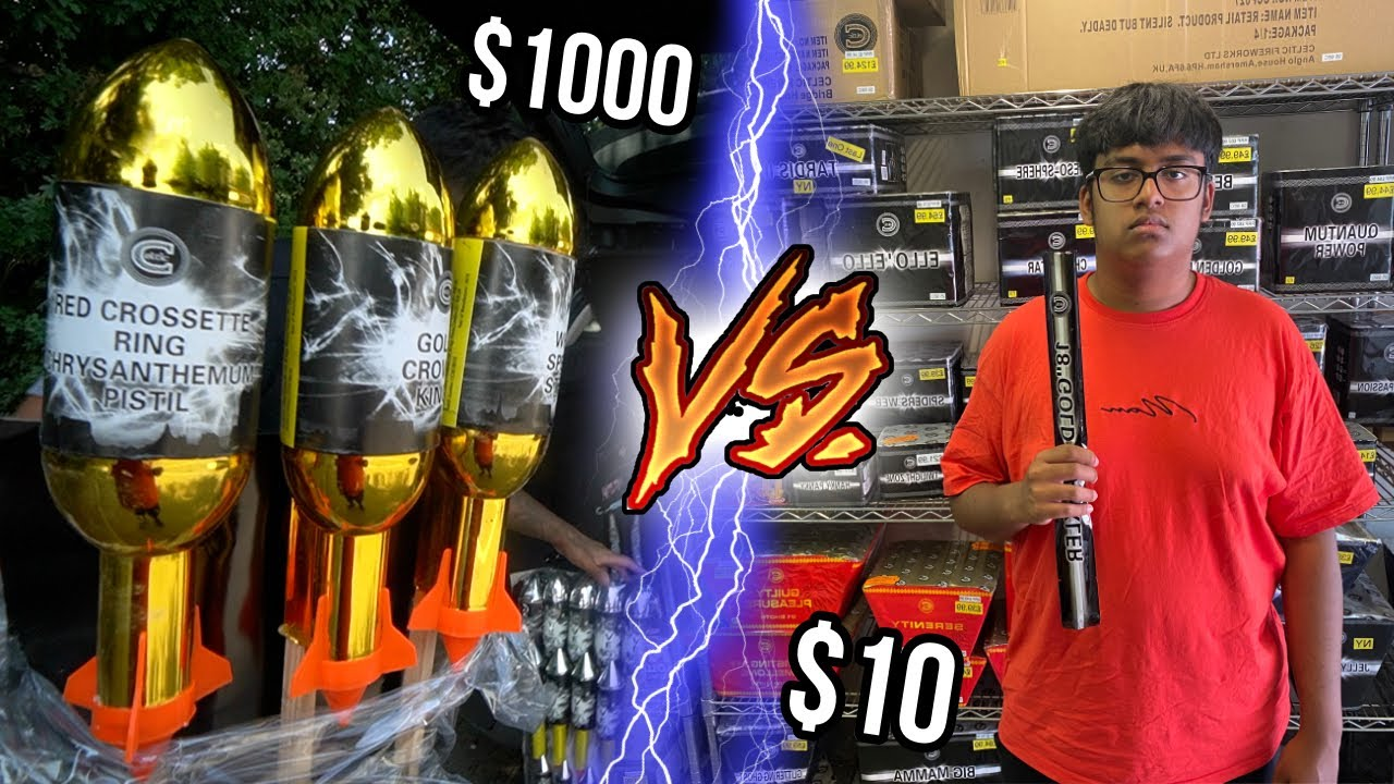 $10 vs $1000 FIREWORK Show! *Budget Challenge* (very angry neighbours)