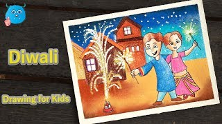 How to Draw Kids Celebrating Diwali  Festival Scene Drawing Step by Step