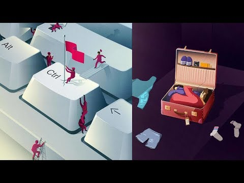 Conceptual Vector Style Illustrations by German graphic designer