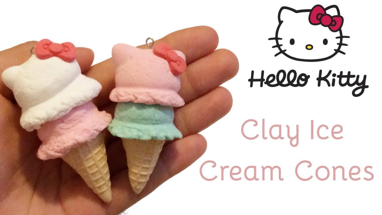 hello kitty ice cream cones air dry clay tutorial youtube