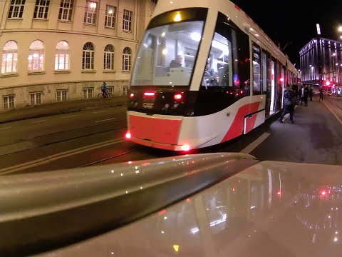 Tallinn sightseeing - driving in the evening (February 2017)