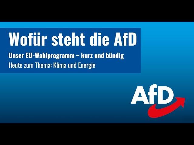 Wofür steht die AfD: Klima und Energie