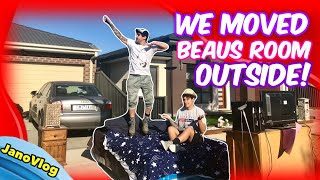 bedroom in driveway (PAYBACK PRANK on Beau)
