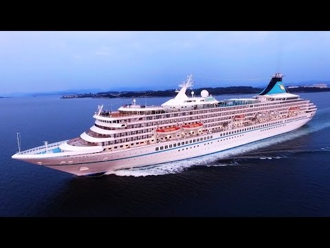 MS Artania cruise DRONE close up chase / Norway / Stavanger / 9.8.2016.