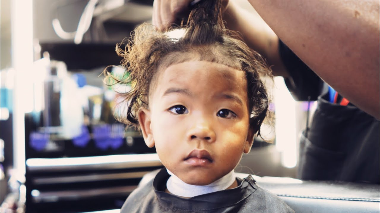 My Son S First Haircut At A Black Barbershop Youtube