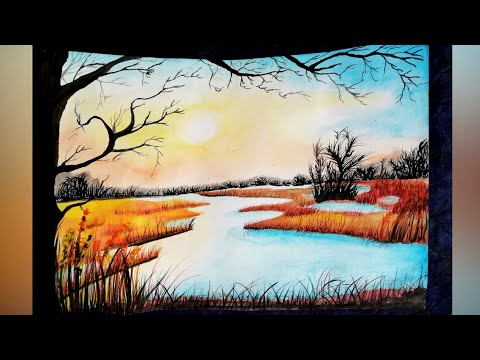 Watercolour Painting || Time Lapse || Sunset || for Beginners || The Blue Sea Art