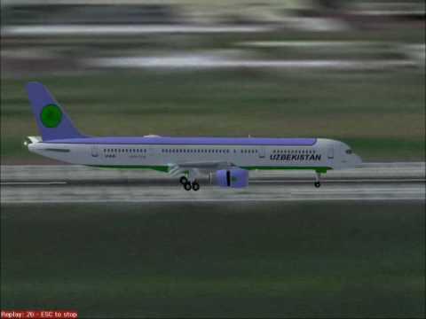 # Landing in Heathrow Uzbekistan 757