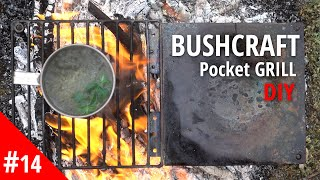 How to make PORTABLE mini, BUSHCRAFT Pocket GRILL. DIY Camping Fire Grill.