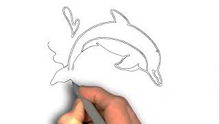 how to draw a dolphin jumping out of water step by step