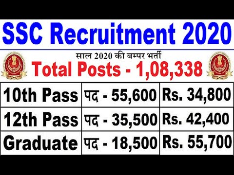 GOOD NEWS : SSC 2020 BIG RECRUITMENT 108338 POST || LATEST GOVT JOBS 2020 || UPCOMING GOVT JOBS