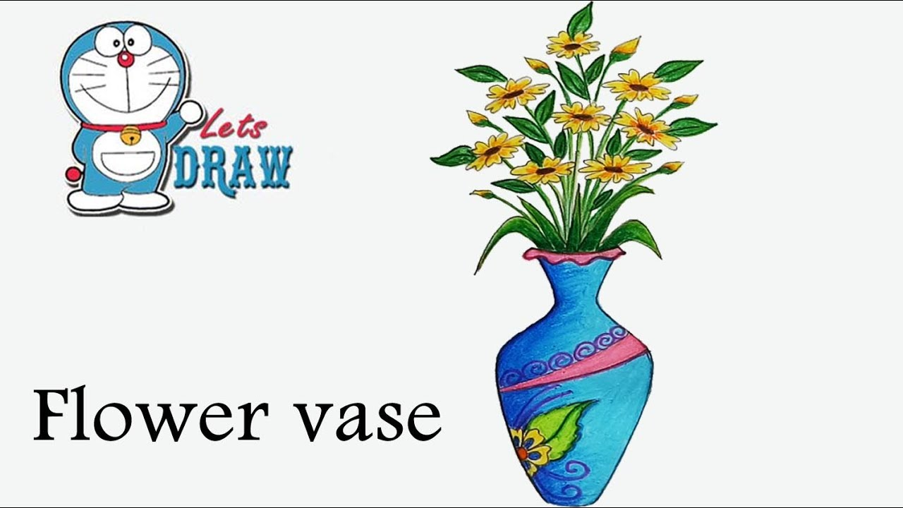 168 & How to draw flower vase step by step ( very easy )