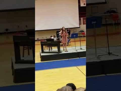 Riley winning Scott County Middle School Got Talent