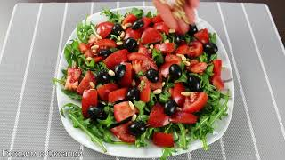 Салат из рукколы с помидорами и сыром 🥗 диетический салат