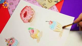 """Урок рисования: СКЕТЧИНГ акварелью на тему """"пирожные"""" (7 видов!)"""